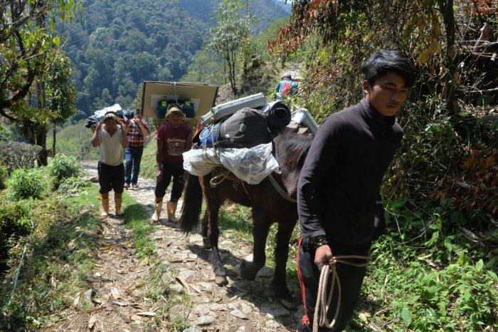 Poll station workers transport Electronic Voting Machines (EVM) and Voter-Verified Paper Audit Trail (VVPAT) machines with a horse on the trek to the remote high altitude Darjeeling constituency polling station. AFP photo.