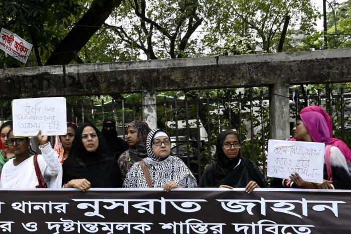 Demonstrations were held across the Bangladesh capital on April 20 for the tenth consecutive day after a teenager who accused a head teacher of sexually harassing her was burned to death. AFP photo