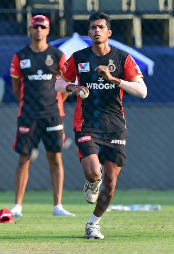 CONFIDENT: RCB pacer Navdeep Saini said he aims to do well in the World Cup if he receives an opportunity. DH File Photo
