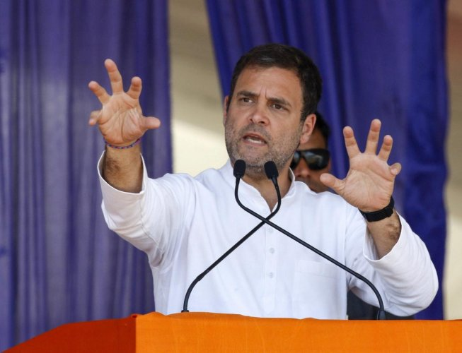 Congress President Rahul Gandhi addresses an election campaign rally for the General Elections 2019 in Bajipura village of Tapi district of Gujarat on April 19, 2019. PTI