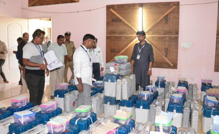 District Election Officer and Deputy Commissioner Sasikanth Senthil inspects the strongroom at National Institute of Technology Karnataka (NITK) in Surathkal on Friday.