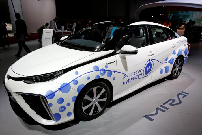 The Toyota Mirai, an hydrogen fuel cell vehicle, is displayed on media day at the Paris auto show. REUTERS