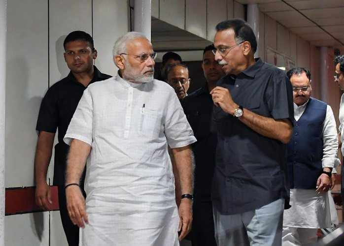 This is the third time Modi has visited the former prime minister, who was admitted to the country's premier hospital on June 11 with a kidney tract infection, chest congestion, urinary tract infection and urine output on the lower side. (PTI file photo)
