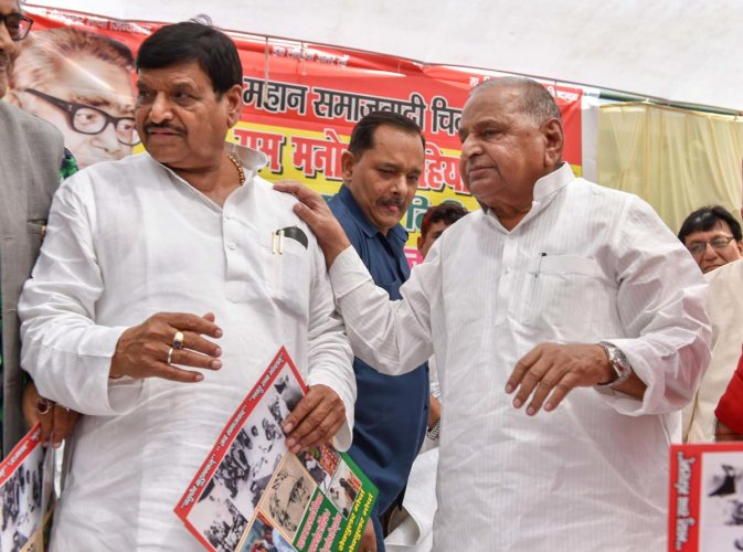 Rebel SP leader and Mulayam's younger brother Shivpal Singh Yadav, who has formed a separate outfit, is in the fray here against his own nephew and sitting SP MP Akshoy Yadav, the son of SP general secretary Ram Gopal Yadav. (PTI File Photo)