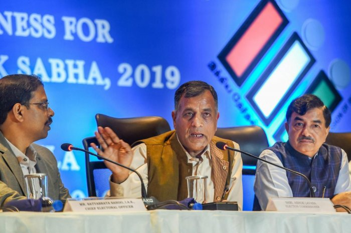 Chennai: Election Commissioner Ashok Lavasa addresses a press conference ahead of the Lok Sabha polls, in Chennai, Thursday, April 04, 2019. Chief Electoral Officer Satyabrata Sahoo (L) is also seen. (PTI Photo)(PTI4_4_2019_000101B)
