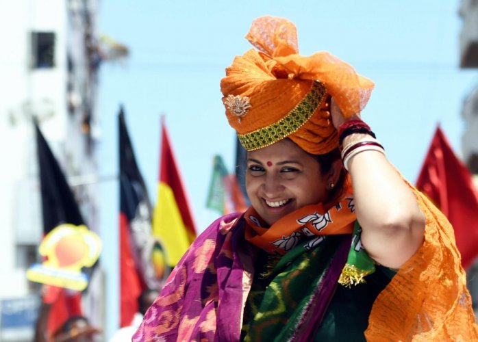 BJP candidate from Amethi Lok Sabha seat Smriti Irani at an election campaign, during the ongoing general elections. PTI