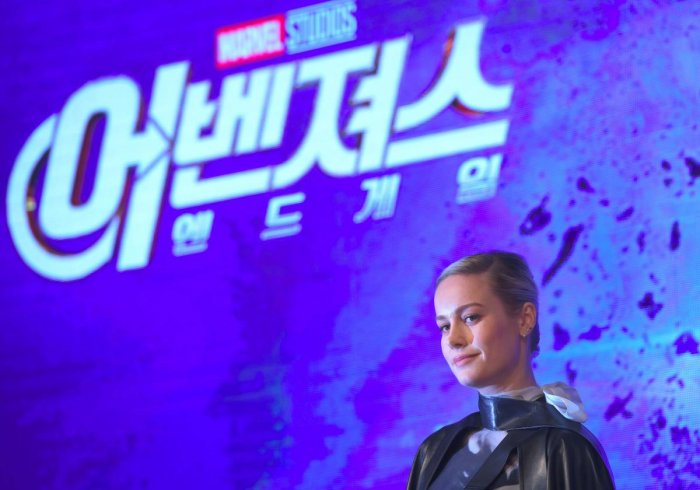"Brie Larson poses during Marvel Studios' ""Avengers: Endgame"" Asia press conference in Seoul. (AFP Photo)"