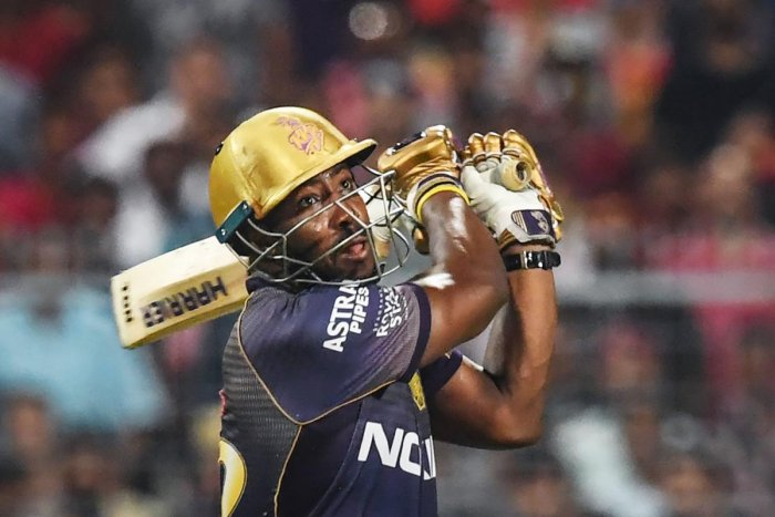 MARAUDING: Kolkata Knight Riders' Andre Russell felt his team should have scored at a faster clip in the middle overs against RCB. AFP