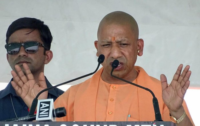 Uttar Pradesh Chief Minister Yogi Adityanath addresses during a election campaign rally for BJP parliamentary candidate from Rampur, Jaya Prada, ahead of the Lok Sabha elections, in Rampur, Sunday, April 21, 2019. (PTI Photo)