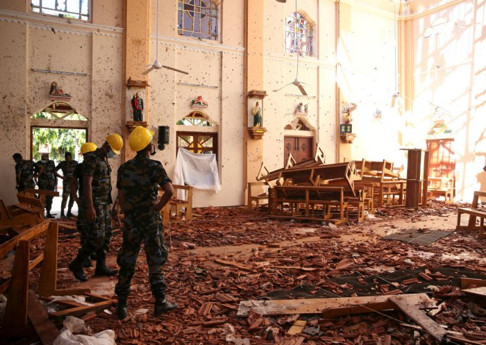 A view of the damage at St. Sebastian Catholic Church, after bomb blasts ripped through churches and luxury hotels on Easter, in Negombo, Sri Lanka. (Reuters Photo)