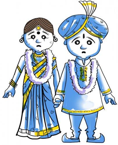 Child marriage. Illustration