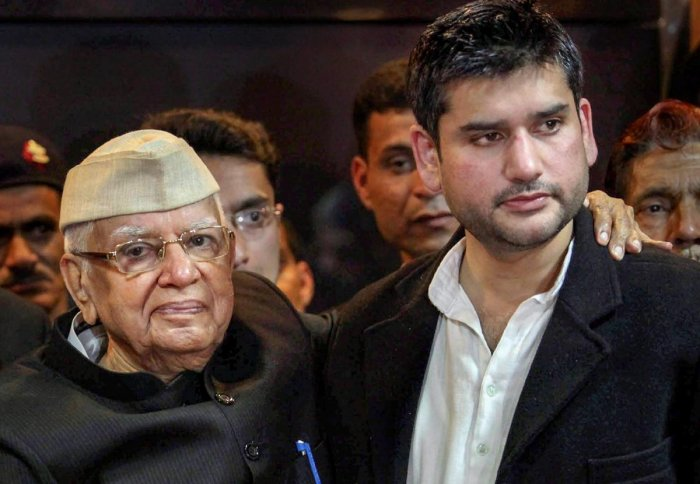 Rohit Shekhar Tiwari with his father N D Tiwari (PTI File Photo)