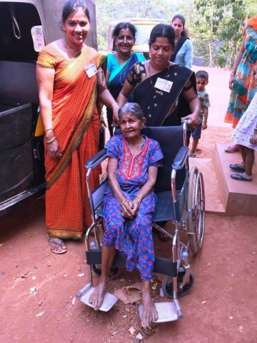 Girija Naik, aged 106 years, arrives at Kondalli polling booth in Kundapur to exercise her franchise on Tuesday.