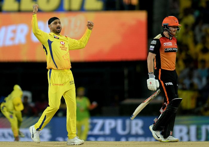 Harbhajan Singh picked up two crucial wickets in Jonny Bairstow and David Warner of Sunrisers Hyderabad in comeback game. AFP