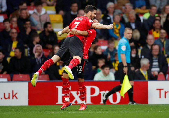 SHOCKER: Southampton's Shane Long celebrates after scoring their first goal in 7.69 seconds against Watford. REUTERS