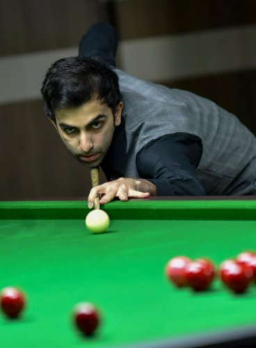 IN CONTROL Pankaj Advani en route to his win over Aditya Mehta in the quarterfinal of the Asian Tour Snooker event in Bengaluru on Wednesday. DH photo/ B H Shivakumar
