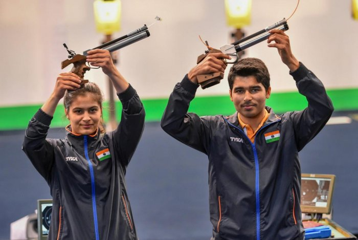 YOUNG STARS: India's Manu Bhaker (left) and Saurabh Chaudhary claimed the 10m Air Pistol Mixed Team gold at ISSF World Cup in Beijing on Thursday. PTI FILE PHOTO