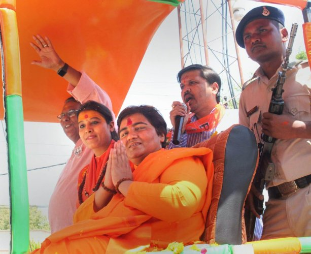 BJP candidate from Bhopal Lok Sabha seat Pragya Singh Thakur. (PTI Photo)