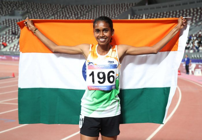 CHAMP AGAIN: India's P U Chitra celebrates after winning the gold in the 1500 metres at the Asian Athletics Championships in Doha on Wednesday. Reuters