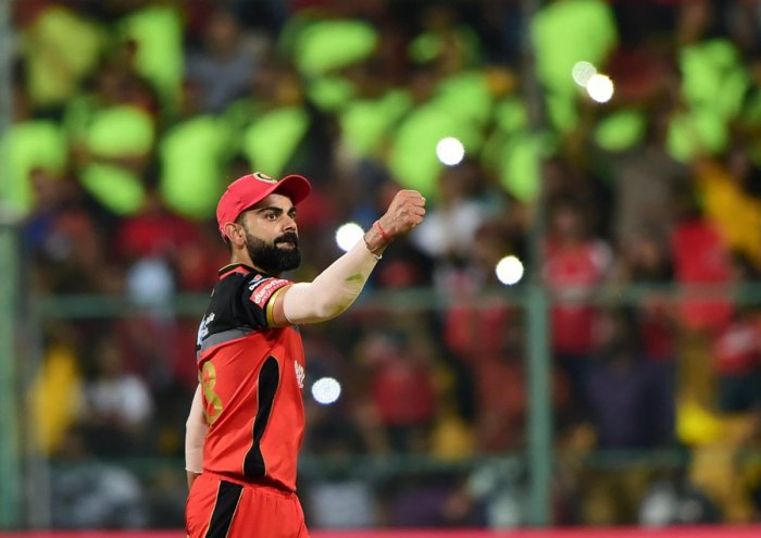 RCB Skipper Virat Kohli celebrates victory over KXIP during the Indian Premier League 2019 (IPL T20) cricket match between Royal Challengers Bangalore (RCB) and Kings XI Punjab (KXIP) at Chinnaswamy Stadium in Bengaluru, Wednesday, April 24, 2019. (PTI Ph