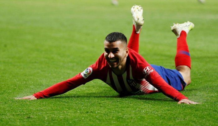 STUNNER: Atletico Madrid's Angel Correa celebrates after scoring the winner against Valencia. Reuters