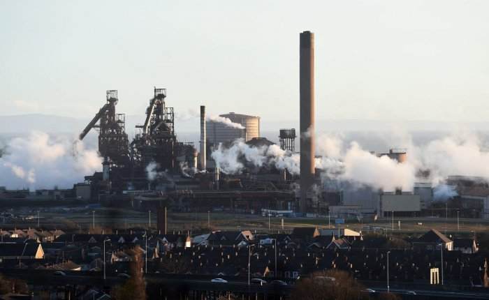 This file photo taken on March 30, 2016 shows the Tata Steel steel plant at Port Talbot, south Wales. - An explosion at the Tata steelworks in south Wales left two people slightly injured, police said on April 26, 2019. (AFP File Photo)