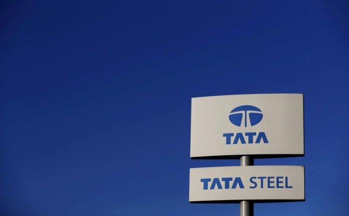 FILE PHOTO: A company logo is seen outside the Tata steelworks near Rotherham in Britain. Reuters