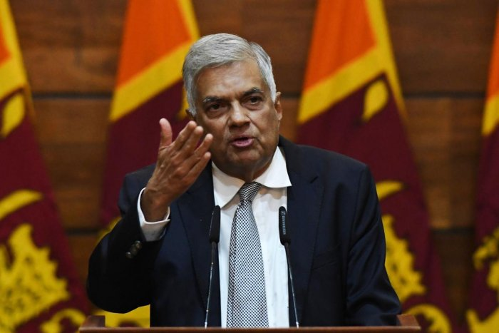 Prime Minister of Sri Lanka Ranil Wickremesinghe gestures as he answers questions from a journalist during a press conference in Colombo on April 23, 2019. (AFP File Photo)