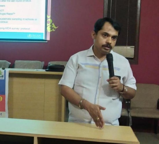 Medical Officer Dr Prashanth Bhat addresses the gathering at the Press Club in Udupi on Thursday.
