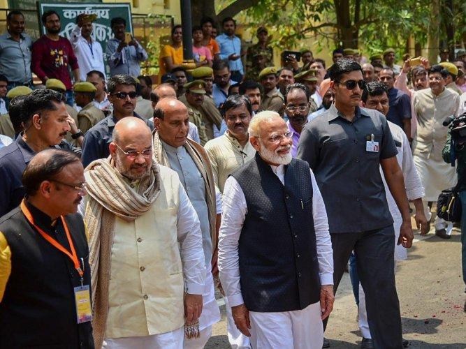 Varanasi: Prime Minister Narendra Modi leaves after filing his nomination paper from Varanasi Lok Sabha parliamentary constituency, ahead of the 2019 general elections, in Varanasi, Friday, April 26, 2019. BJP National President Amit Shah and leader Rajna