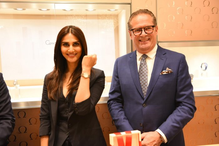 Actress Vaani Kapoor with Jean Claude Monachon, vice president, product and customer service, Omega, in Bengaluru