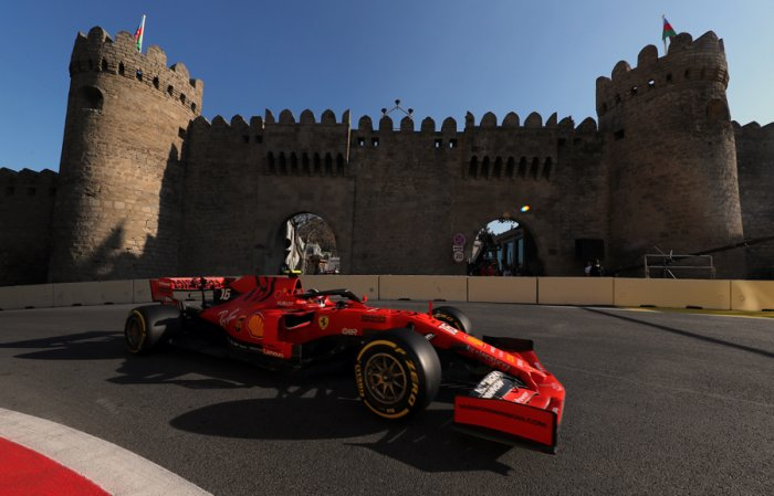 Ferrari's Charles Leclerc was fastest in practice for the Azerbaijan Grand Prix. Picture credit: Reuters