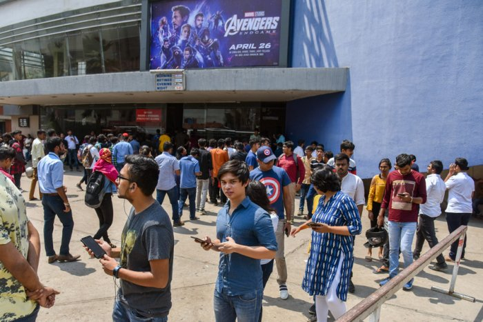 Massive turnout for the Avengers: Endgame movie at Urvashi theatre in Bengaluru. Picture credit: SK Dinesh/ DH Photo