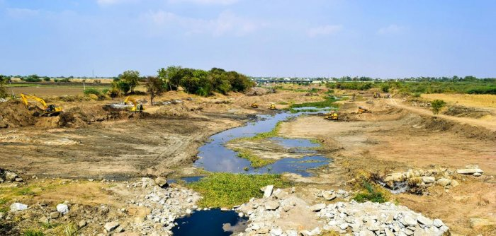 Breathing FResh LIfe: (Clockwise from above) Hirehalla in Koppal district after one month of cleaning; volunteers clearing trash and weeds in the stream; earthmoving vehicles are used to accelerate the process.