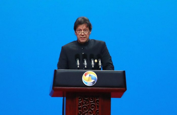 Beijing: Pakistani Prime Minister Imran Khan delivers his speech for the opening ceremony of the second Belt and Road Forum for International Cooperation (BRF). AP/PTI Photo