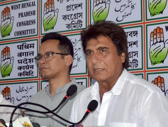 Uttar Pradesh Congress Committee chief Raj Babbar addresses a press conference, at West Bengal Pradesh Congress office in Kolkata. PTI