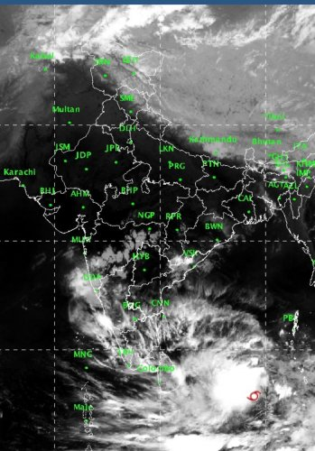 """""""It is very likely to intensify into a severe cyclonic storm during next 12 hours and into a very severe cyclonic storm during subsequent 24 hours,"""" the IMD said. (Image Courtesy: AIR/Twitter)"""