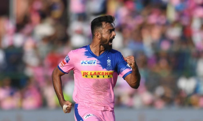 FINDS HIS TOUCH: Jaydev Unadkat played a key role in Rajasthan Royals' crucial win over Sunrisers Hyderabad on Saturday. AFP