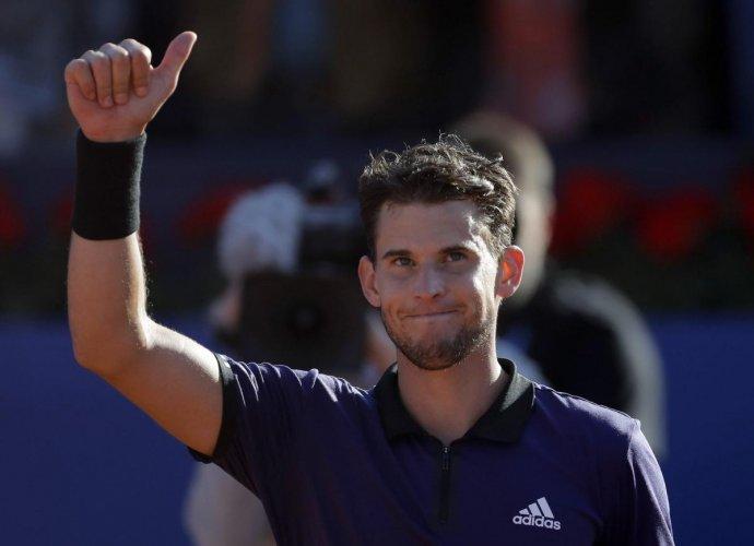 Austria's Dominic Thiem celebrates his semifinal win over Spain's Rafael Nadal on Saturday. AP/PTI