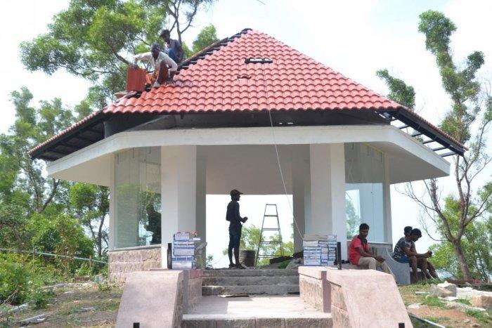 Renovation work on Nehru Mantapa in progress in Madikeri.