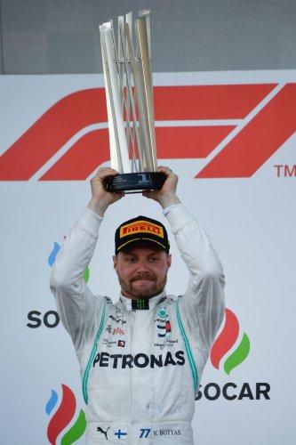 Mercedes' Valtteri Bottas celebrates after winning the Azerbaijan Grand Prix in Baku on Sunday. AFP