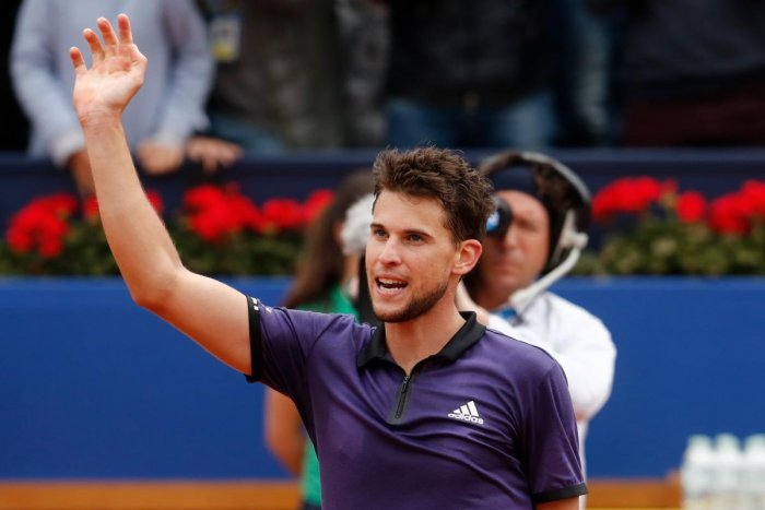 MARAUDING FORM: Dominic Thiem celebrates after defeating Russia's Daniil Medvedev in the final of the Barcelona Open. AFP