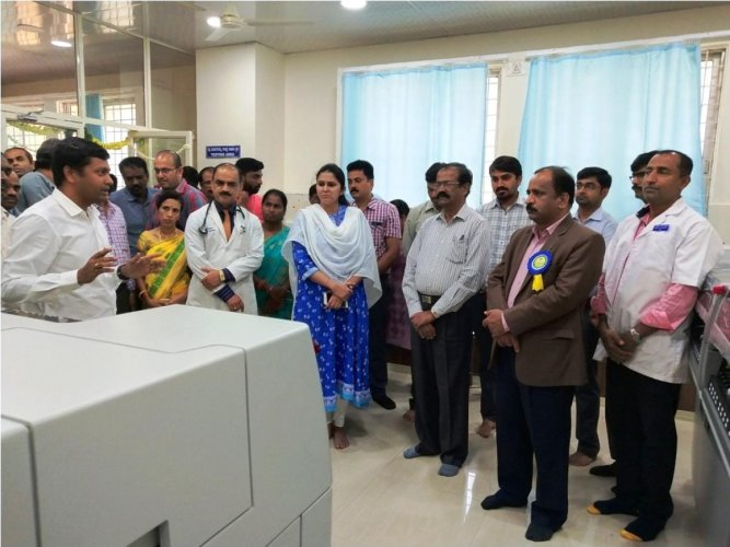State-of-the-art blood testing unit at Hassan Institute of Medical Sciences.