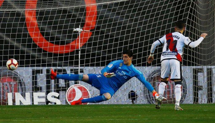 Rayo Vallecano's Adri Embarba scores from the penalty spot against Real Madrid on Sunday. REUTERS