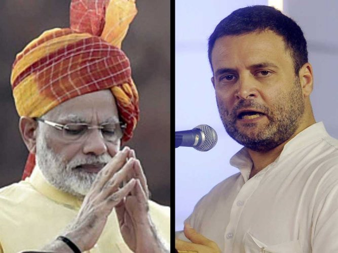 The Election Commission will on Tuesday take a call on the alleged violation of model code of conduct by Prime Minister Narendra Modi, BJP president Amit Shah and Congress president, Rahul Gandhi. (PTI File Photo)
