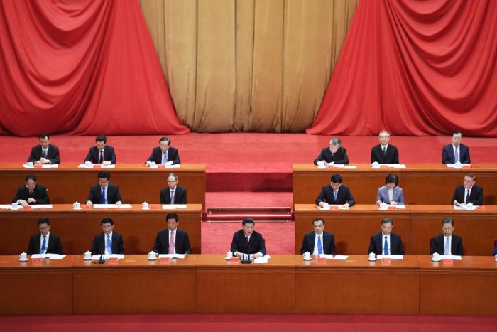 China's President Xi Jinping (C) speaks at a ceremony marking the centennial of the May Fourth Movement, a landmark student protest against colonialism and imperialism, in Beijing's Great Hall of the People. AFP