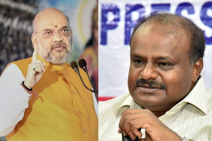 BJP national president Amit Shah and Karnataka Chief Minister H D Kumaraswamy locked horns on Tuesday over Congress president Rahul Gandhi's event in Bengaluru where some pro-Modi techies were allegedly held by the police. (DH Photos)