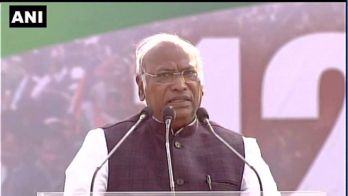 """At the rally, Kharge, the leader of the Congress party in the Lok Sabha, read out a message from Sonia Gandhi, highlighting the """"crisis"""" looming over the country with farmers and fishermen living under immense strain. ANI Photo"""