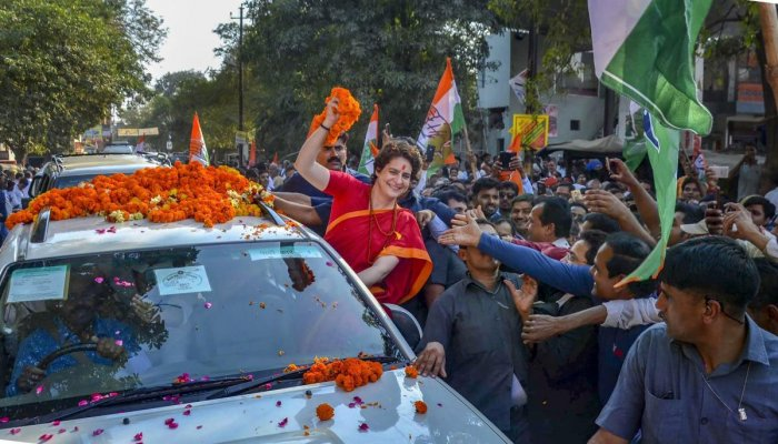 Congress General Secretary UP-East Priyanka Gandhi Vadra during a road show ahead of the upcoming Lok Sabha elections, in Mirzapur district, Tuesday, March 19, 2019. (PTI Photo)(PTI3_19_2019_000108B)