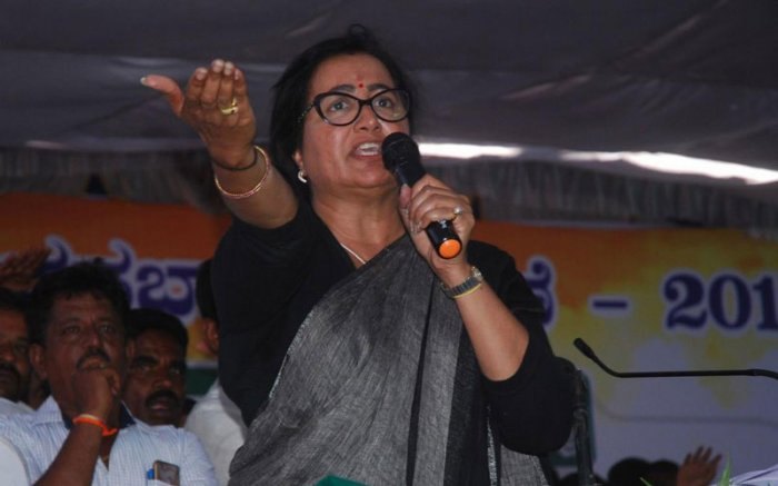 "Sumalatha was addressing a gathering at a convention here. ""If I had greed, I would have joined either Congress or some other party,"" she said. (DH Photo)"